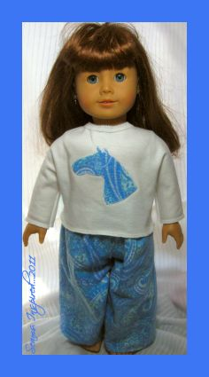 "Free pj pattern for an 18"" doll ~ love the horse applique for E! :o)"