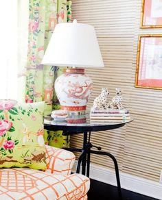 Chinoiserie chic fabric sofa upholstery chinoiserie lamp, southern decor, pink living room, mixing patterns,