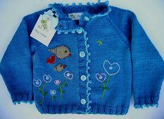 Cardigan em tricô para bebês de 0 a 3 meses