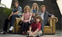 Cast of the BBC's outstanding comedy, 'Outnumbered'  L-R: Jake (Tyger Drew-Honey); Sue (CLaire Skinner); Karen (Ramona Marquez); Ben (Daniel Roche); and Pete (Hugh Dennis).