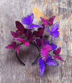 Violet Cosmos Monarch Butterfly Fascinator