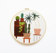 9 inch Modern Hand Stitched Embroidery Hoop Art