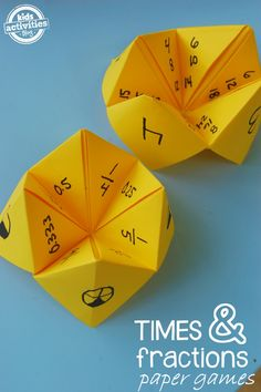 Love these times and fraction math games for kids - easy to make!