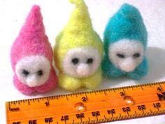 rainbow pastel gnomes handmade OOAK wool doll by RAINBOWFIBRES, $13.95