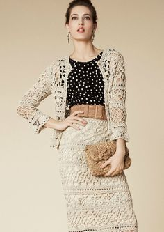 Dolce & Gabbana – Crochet Skirt & Jacket Spring Summer 2013 I just love the skirt. The sweater is overkill, in my personal opinion Moda Crochet, Knit Crochet, Crochet Summer, Crocheted Lace, Crochet Woman, Irish Crochet, Crochet Skirts, Crochet Clothes, Fashion Moda