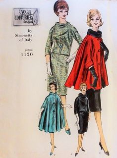 1960 Elegant Simonetta Suit and CAPE Coat Pattern Vogue Couturier Design 1120 Full Lovely Cape In 2 Lengths Slim Skirt Suit Day or Evening Wear Bust 38 Vintage Sewing Pattern + Vogue Label