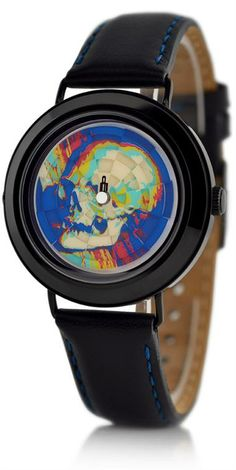 "Mr. Jones Ambassador watch - A skull appears on this watch every time the hour and minute hand align (every hour). The remainder of the time the image is a mix of colors and shapes. The skull comes from a Hans Holbein painting called ""The Ambassadors"". #watch #design USD199"