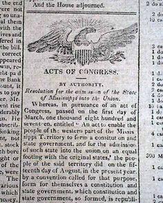 Mississippi joins the Union. NATIONAL INTELLIGENCER, Washington, D.C., Dec. 13, 1817.