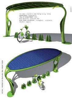 Green Bike Station, design of Giancarlo Zema. A huge solar panel on top of the station fuels the bikes.