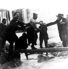 On October 24, 1901, though bruised and battered Annie Taylor was the first person to survive going over Niagara Falls in a barrel.