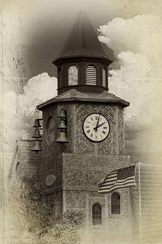 Church Bells of Solvang. Black And White Photography, Danish, Denmark, Big Ben, Castles, Clock, California, Spaces, Building