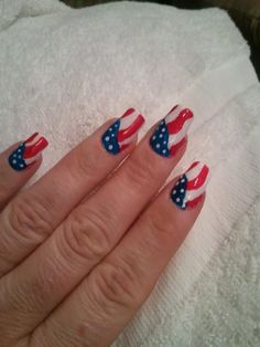 Red, White & Blue nails, Fourth 4th of July holiday nail art, Stars and Stripes, easy Free hand