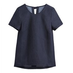 Denim Tee ($95) ❤ liked on Polyvore featuring tops, t-shirts, relaxed fit tops, denim top, tailored t shirts, relaxed fit tee and relax t shirt