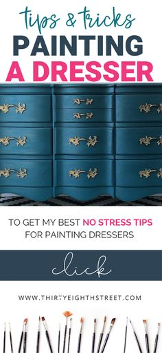 This tips and tricks will help you paint a dresser beautifully! Painting bedroom furniture has never Diy Dresser Makeover, Furniture Makeover, Dresser Ideas, Bookshelf Makeover, Dresser Makeovers, Chalk Paint Dresser, Dresser Refinish, Dresser Painting, Girl Dresser