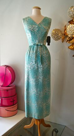 60's Gown// Vintage 1960's Blue Chrysanthemum by xtabayvintage, $198.00
