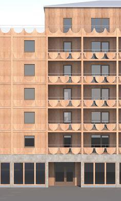 Wood Architecture, Architecture Visualization, Contemporary Architecture, Architecture Details, Wood Facade, Architectural Section, Facade Design, Facade House, Architect Design