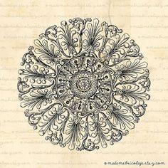 Antique Rosette Ceiling Round Flower Digital by MadameBricolage, $2.00