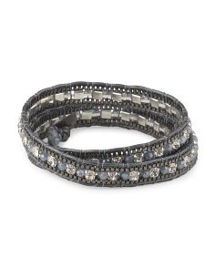 image of Grey Czech Crystal Leather Cord Wrap Bracelet