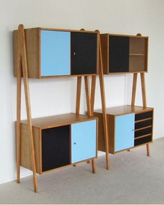 Anonymous; Beech, Formica and Glass Storage Units, 1950s.