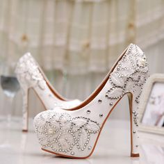 89.99$  Buy now - White Lace Flower Wedding Shoes Women Spring Summer Rhinestone Pumps Bridal Party Prom Shoes Mother of the Bride Shoes  #buyonlinewebsite