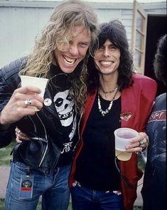 James Hetfield (Metallica) and Steven Tyler (Aerosmith) James Hetfield, Thrash Metal, Hard Rock, Steven Tyler Aerosmith, Idol, E Book, Foo Fighters, Keith Richards, Ringo Starr