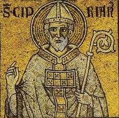 """""""Que de prophètes ont été assassinés! Que de martyrs ont subi une mort glorieuse! S'ils sont arrivés à la couronne céleste,ils le doivent à leur patience.On ne peut,en effet,recevoir la récompense de ses douleurs et de ses épreuves,si elles n'ont été sanctifiées par cette vertu."""" (Avantages de la Patience) // Saint Cyprian of Carthage / San Cipriano de Cartago / Saint Cyprien de Carthage // #mosaic #bishop #Christian #martyr"""
