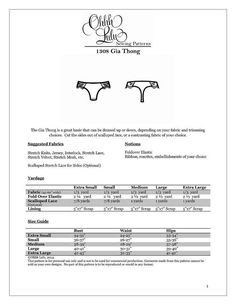 *** PLEASE NOTE! This listing is for a SEWING PATTERN, not actual lingerie. If…