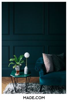 inspiration with inky, teal walls and deep blue velver sofa contrasted with blush pink cushion.Step inside the South West London Home of Sommer Pyne to see more interior inspiration. Teal Living Rooms, Living Room Decor, Bedroom Decor, Dark Blue Walls, Teal Walls, Teal Sofa, Teal And Pink, Blush Pink, Living Room Lighting