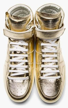 Saint Laurent Gold Lame Leather High Top Sneaker