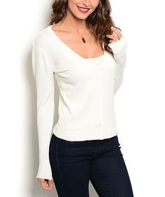 This Ivory Scoop Neck Sweater is perfect! #zulilyfinds