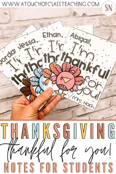 This Thanksgiving, let your classroom know you are thankful for them with these cute Thanksgiving notes for students. Each Thankful for you note has a picture of a turkey and is easy to print and hand out.