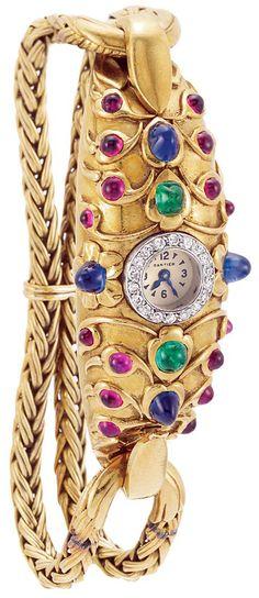Cartier - Montre Bracelet - Or, Diamants, Saphirs, Rubis et Emeraudes - Vers 1945