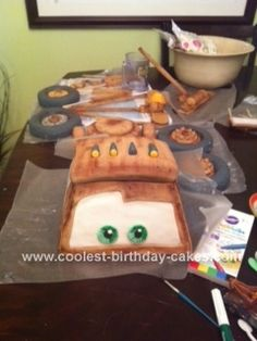 Homemade Tow Mater Birthday Cake: I made this Tow Mater cake for my son's 2nd birthday. Cooper loves the Cars movies and especially Mater. I think his first words were Dad Gum!. Lol. I