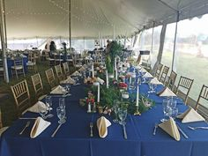 Tuscan Head Table with Royal Blue Napkins
