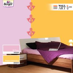 Accent walls add a different kind of charm to your bedroom. Try this combination wall separated by Indian design motifs for an instant makeover. House Front Wall Design, Accent Walls, Interiors, Indian, Wall Art, Bedroom, Home Decor, Decoration Home, Room Decor