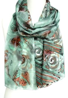 Mint Scarf. Hand Painted Silk Scarf. Spring Green Shawl. Roses Smaragd Scarf. Gift for Her. $38