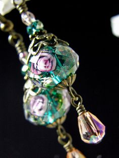 Peacock Blue Green Pink Rose Crystal by TitanicTemptations on Etsy, $29.00