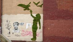 Brooklyn-based artists Edina Tokodi and József Vályi-Tóth, aka Mosstika, have made it their mission to liven up the cold streets of New York City with doses of green. The eco-minded guerrilla art collective, whose work we recently spotted at Flavorwire, create living street art in the form of moss installations representing animal figures and camouflage outgrowths.
