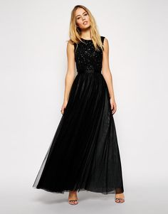 Needle & Thread | Needle & Thread Embellished Mesh Lace Maxi Dress at ASOS