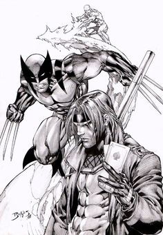 Ice Man, Wolverine & Gambit  pencil & Ink art by Ed Benes! (Marvel comics)