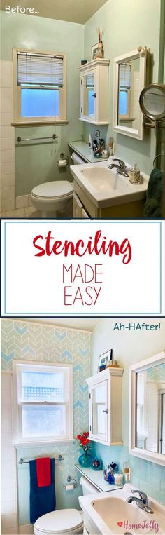 How to add a stenciled pattern to your bathroom walls. Tackle this bathroom makeover idea by using a HomeRight paintstick and quickpainter. Diy Bathroom, Bathroom Remodel Shower, Pretty Room, Bathroom Remodel Tile, Diy House Projects, Stylish Bathroom, Bathroom Remodel Cost, Diy Bathroom Remodel, Wall Patterns