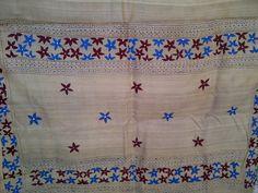 95x34 Cream Indian Tussar Silk Shawl Scarf Hand Painted Floral Extra Long Shawl (J14456). $39.99, via Etsy.