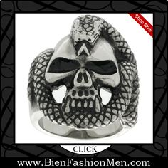 Mens Bold Rings | Mens Bold Ring | Mens Rings | Bold Rings | Mens Jewelery | Jewelry on Men | Jewelery for Men | Men Jewellry | Male Jewellery | Chunky Rings | Affordable Rings | Shop Now ♦ Surgical Steel Biker Ring Vampire Skull Rapped with Snake $9.95