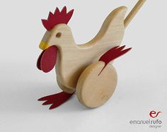 Wooden Toy - Wooden PushToy Chicken - Waldorf Wood Toy - Eco-Friendly Hand-Crafted Toy
