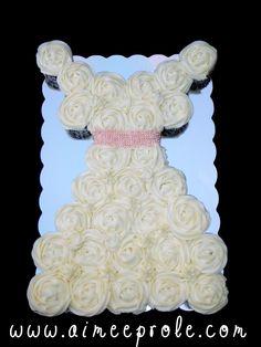 Bridal Shower - Wedding dress cupcake cake