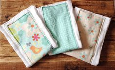 Baby Burp Cloth set of 3 by sticksandfuzzies on Etsy, $15.00