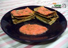 Milhojas de tofu con salmorejo - No Como De Todo