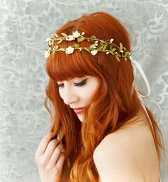 Boho bridal crown, flower hair wreath, woodland headpiece, wedding hair accessories. $64.00, via Etsy.