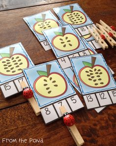 Apple Seeds Count and Clip Cards