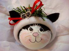 BLANCO y negro gato ornamento patas regalos por TownsendCustomGifts